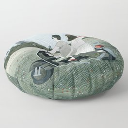 Couple On Scooter Floor Pillow