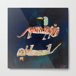 Tiger, Cheetah, Toucan Painting Metal Print