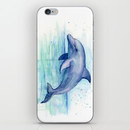 Dolphin Watercolor Sea Creature Animal iPhone Skin