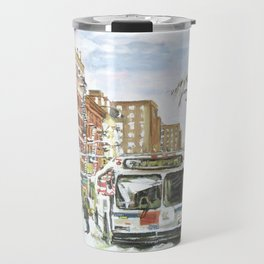 East Village In Snow, New York City Travel Mug