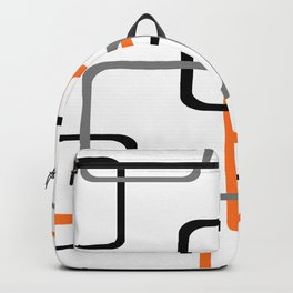 Geometric Rounded Rectangles Collage Orange Backpack