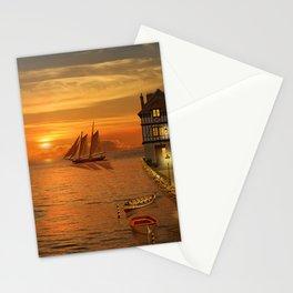 Nostalgic Harbor In The Sunset Stationery Cards
