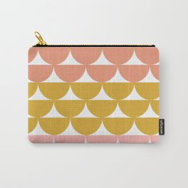 Pretty Geometric Bowls Pattern in Coral and Mustard Carry-All Pouch