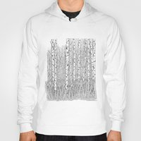 birch Hoodies featuring Birch Trees Black and White Illustration by Vermont Greetings