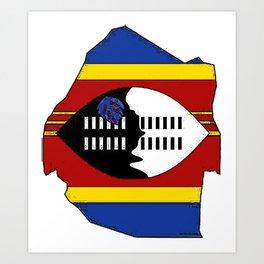 Swaziland Map with Swazi Flag Art Print