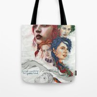 eternal sunshine of the spotless mind Tote Bags featuring Eternal Sunshine by Laura O'Connor