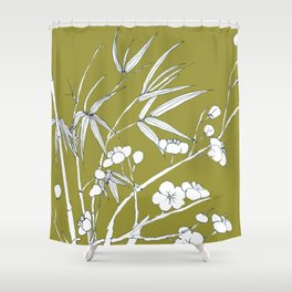 bamboo and plum flower in white on yellow Shower Curtain