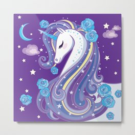 Magical Unicorn in Purple Sky Metal Print
