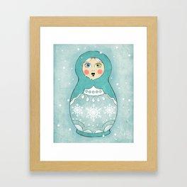 Snow Matryoshka Framed Art Print