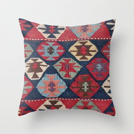 Red Band Diamond Kilim // 19th Century Colorful Brown Cream Peach Navy Blue Ornate Accent Pattern Throw Pillow