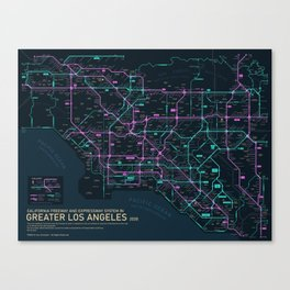 Greater Los Angeles Freeway Map Canvas Print
