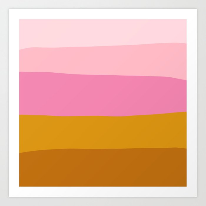 Abstract Organic Color Blocking in Pink and Honey Gold Art Print