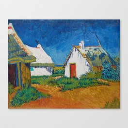 Three white cottages in Saintes-Maries Canvas Print