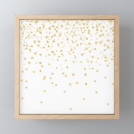 Falling hearts gold glitter confetti - Heart Love Valentine Framed Mini Art Print
