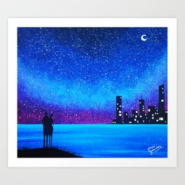 Far city under the stars Art Print