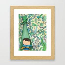 A boy and a dinosaur, dino love, for kids Framed Art Print