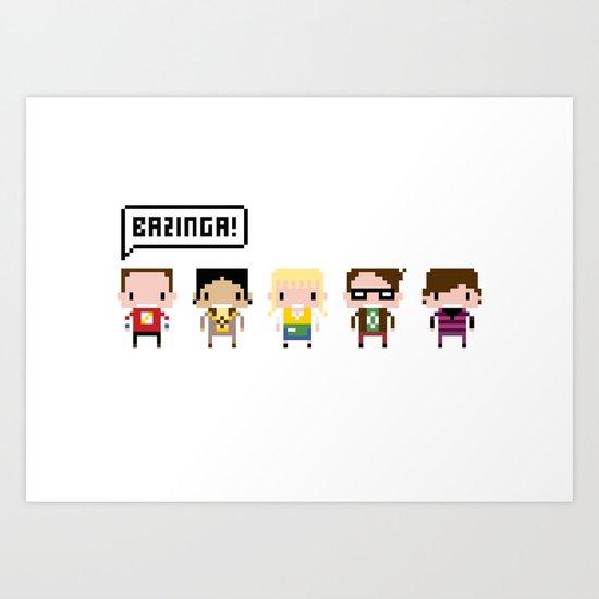 The Big Bang Theory Pixel Characters Art Print