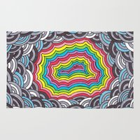 geode Area & Throw Rugs featuring Rainbow Geode by Audrey Pixel Designs