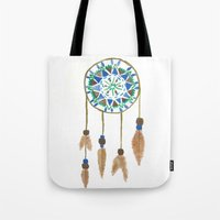 dream catcher Tote Bags featuring Dream Catcher by Kayla Gordon