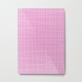 Simple Grid Pattern in Pink Lavender Metal Print