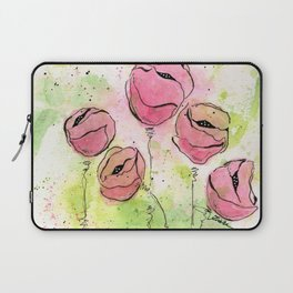Pink and Green Splotch Flowers Laptop Sleeve