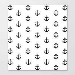 Black and White Anchor Pattern Canvas Print