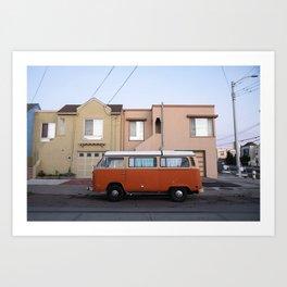 Vanlife San Francisco Bus Photography, Sunset District Houses, California Vibes Art, Orange Van Art Art Print