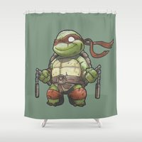 tmnt Shower Curtains featuring TMNT by jeremiah cortez