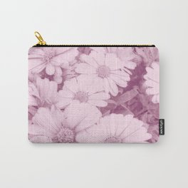 Elegant blush pink white daises botanical floral Carry-All Pouch