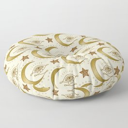 Magic Moon Tribal Eye Gold And Beige Pattern Floor Pillow