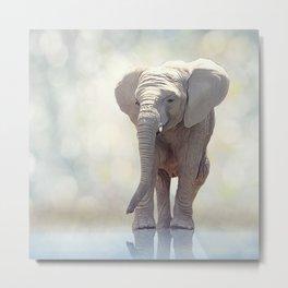 Young elephant near water.Digital art Metal Print