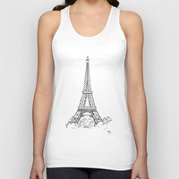 eiffel tower Tank Tops featuring EIFFEL TOWER by DMorrow Art