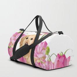 Labrador Retrievers with Lotos Flower Duffle Bag