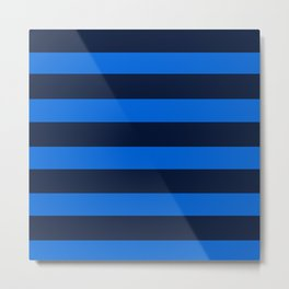 Blue Horizontal Stripes Graphic Metal Print