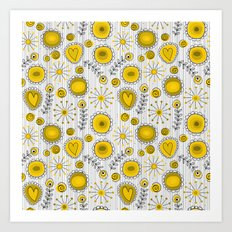 Whimsical flowers in yellow Art Print