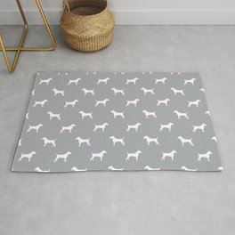 Jack Russell Terrier grey and white minimal dog pattern dog silhouette pattern Rug