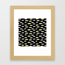 black with pressed linen & yellow /geometric series Framed Art Print