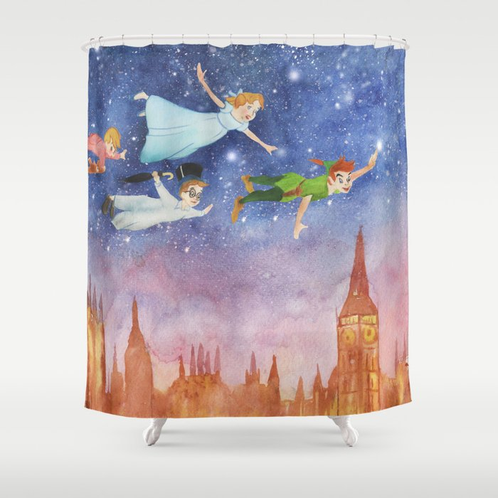 Peter Pan Sunset Nursery Decor Shower Curtain