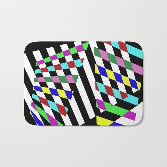 Lost Dimension - Abstract 3D style, multicoloured, geometric artwork Bath Mat