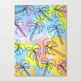 Live This Moment no.1 - illustration palm tree pattern summer tropical beach California pastel color Canvas Print