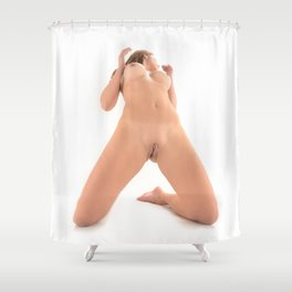 9573-HW Beautiful Woman Kneeling Openly With No Clothes On by Chris Maher Shower Curtain