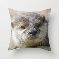 otter Throw Pillows featuring Otter by PICSL8
