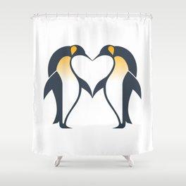 Kissing penguins Shower Curtain