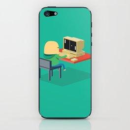 Nerd playing Pong iPhone Skin