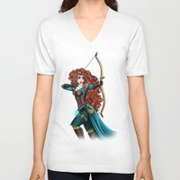 merida V-neck T-shirts featuring Steampunk Merida by Hungry Designs