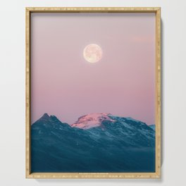 Moon and the Mountains – Landscape Photography Serving Tray