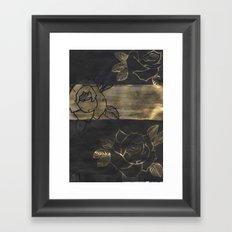 Feminine, Grung Print. Black and Gold Roses. Framed Art Print