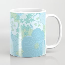 Light Blue Pastel Vintage Floral Pattern Coffee Mug