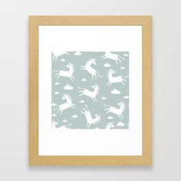 Unicorn with clouds Framed Art Print