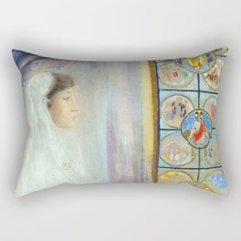 "Odilon Redon ""Portrait of Simone Fayet in Holy Communion"" Rectangular Pillow"
